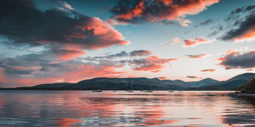 loch lomond pink sunset