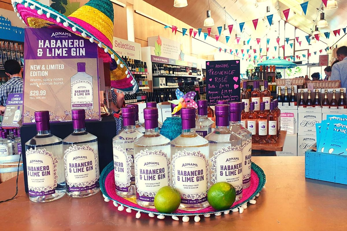 Adnams Gin in the Adnams Shop in Southwold