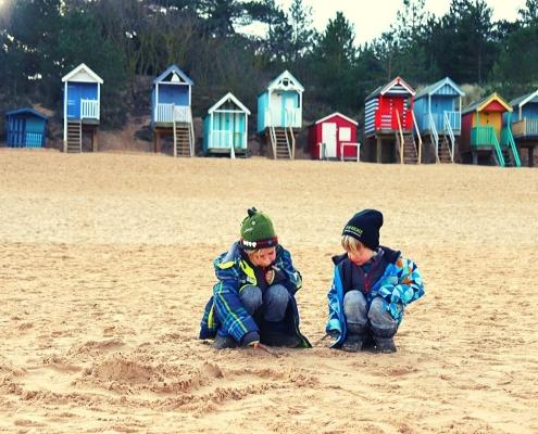Colourful beach huts at Wells next the Sea beach