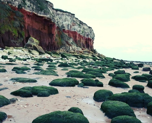 Interesting cliffs and rock formations at Hunstanton Beach