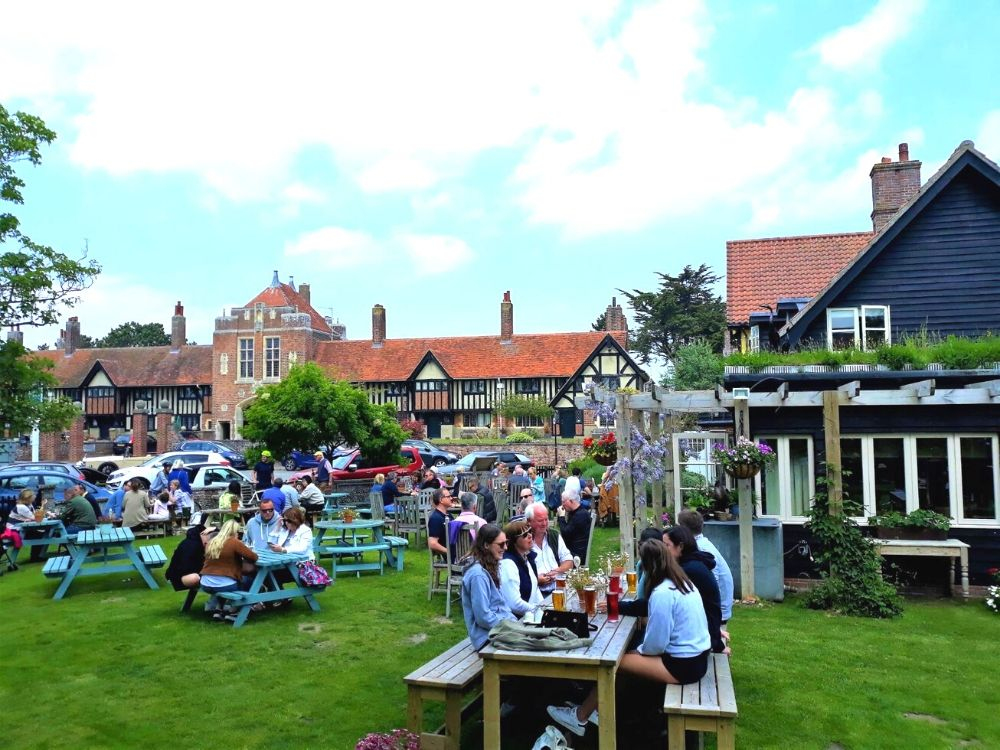 The beer garden at the Dolphin Inn Thorpeness