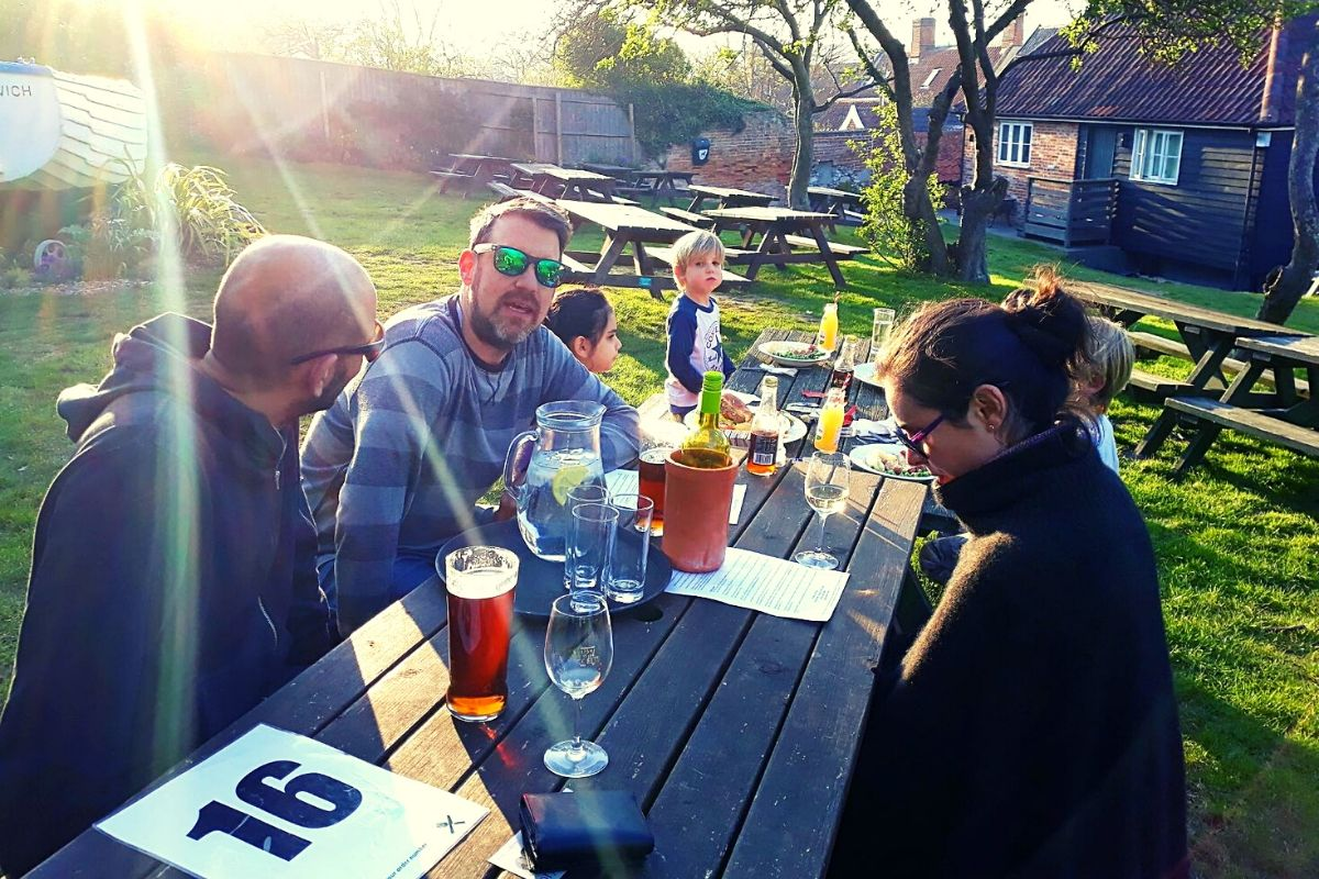 The beer garden at the Ship Inn in Dunwich