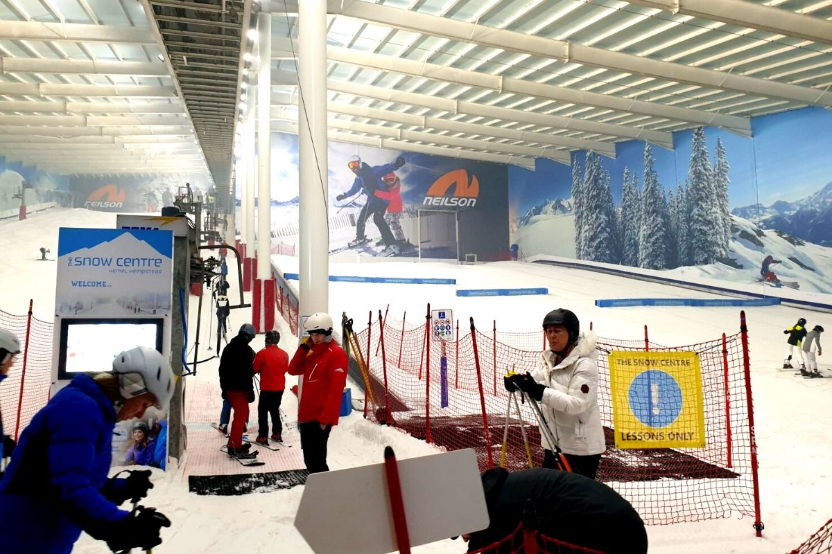 The main slope and the training slope at the Hemel Snow Centre