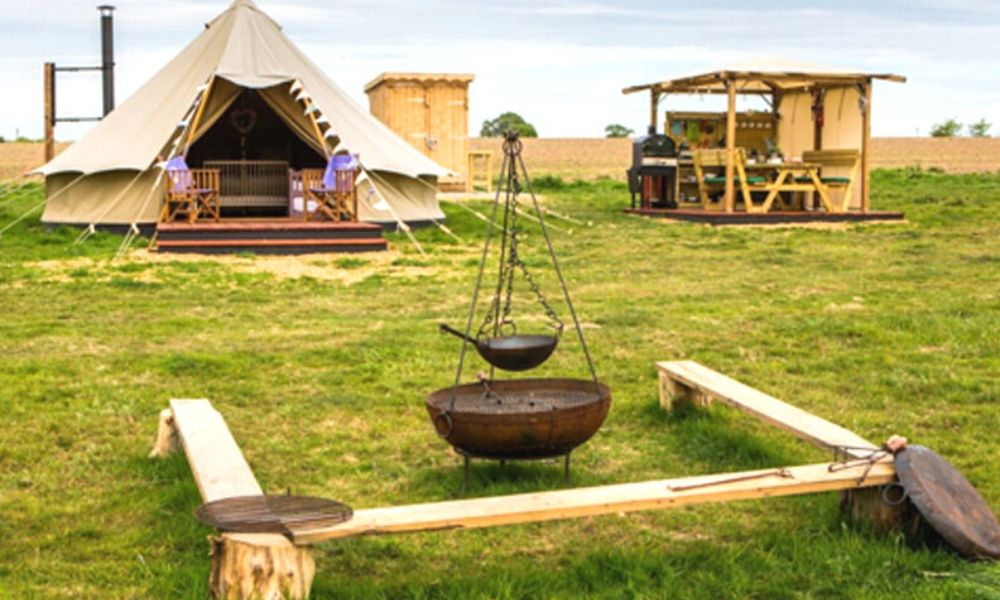 Bell tent at Little Wren Glamping in Suffolk