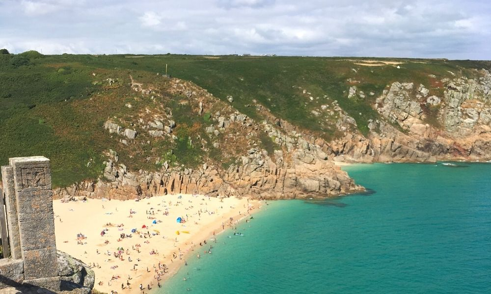 Porthcurno Beach seen from the Minack Theatre